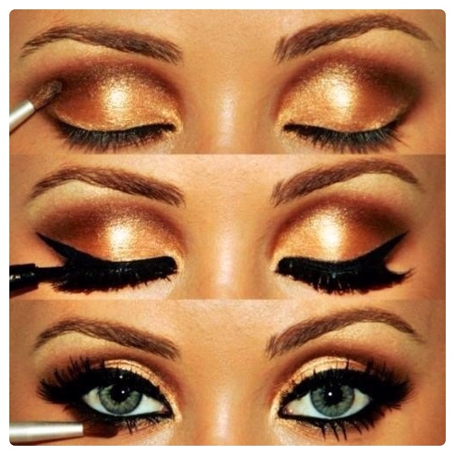 Bronze Shimmering Eye Shadow paired with Black Eye Liner.: Make Up, Eye Makeup, Eyeshadow, Style, Eyemakeup, Beauty, Smokey Eye, Makeup Idea