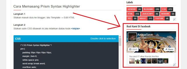 Cara Menambahkan Widget Fanspage Facebook Box Di Blogger