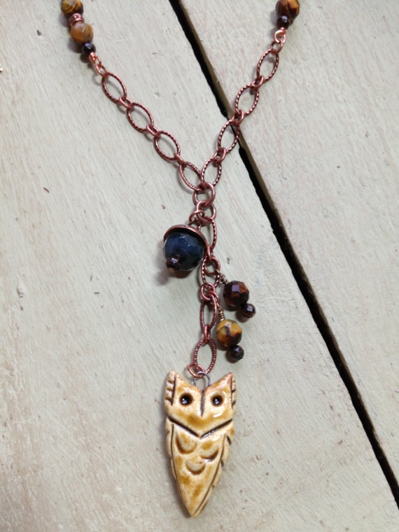 Arrowhead Owl ceramic pendent on beaded copper chain with stone and crystal accents on Etsy, $36.00