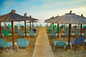 Deck Chairs and Beach Umbrellas, Nei Pori, Greece