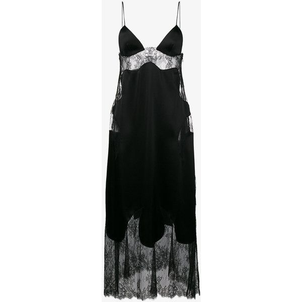 Off-White Lace Insert Slip Dress ($1,100) ❤ liked on Polyvore featuring dresses, black, vintage white dress, faux-leather dresses, lace panel dress, lace insert dress and slip dresses