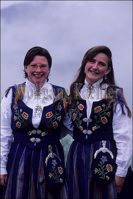 Norway, near bodo, young women in traditional dress