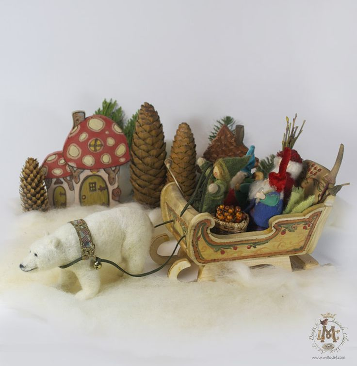 Polar Bear , needle felted, and wooden Sleigh custom order