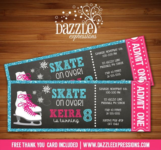 Printable Glitter Chalkboard Ice Skating Ticket Birthday Invitation | Girl Winter Party | Glitter | Digital File | Girls Birthday Party Idea | Rollerskating | Skate | FREE thank you card | Printable Party Package Available |  Banner | Cupcake Toppers | Favor Tag | Food and Drink Labels | Signs |  Candy Bar Wrapper | www.dazzleexpressions.com