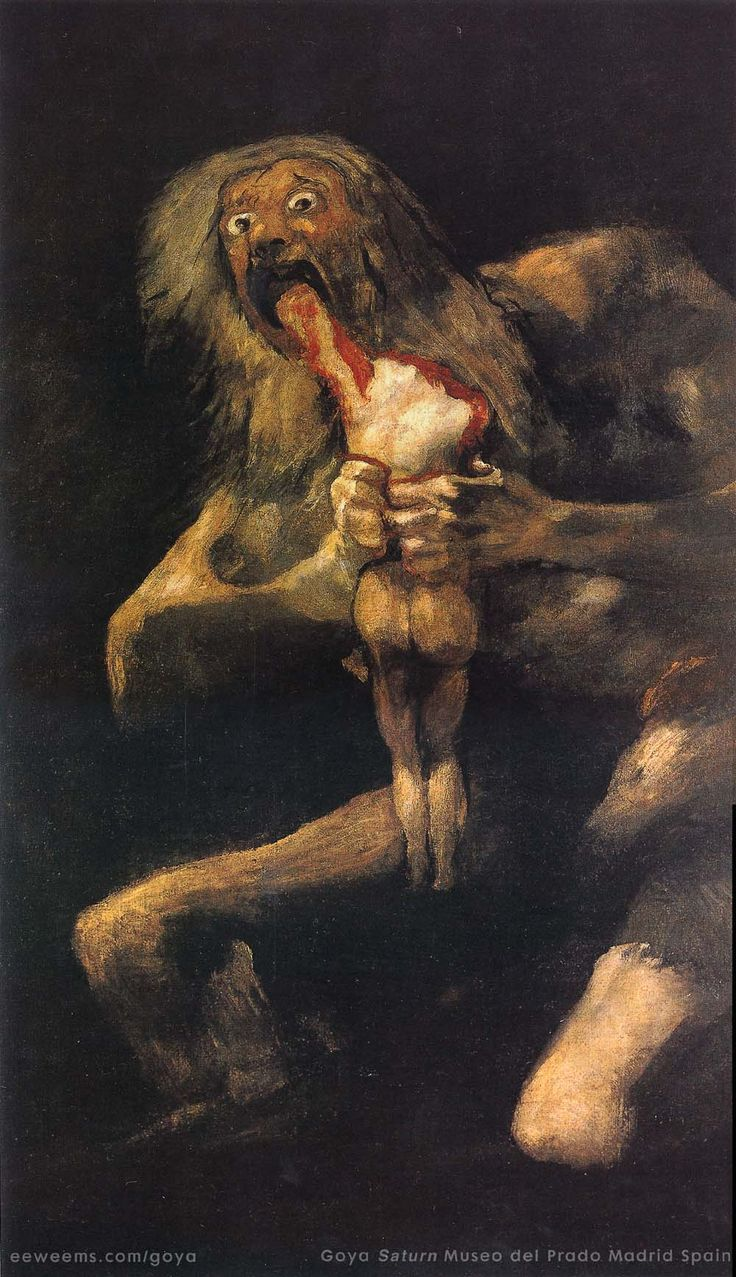 "Saturn Devouring One of His Children, by Francisco Goya, 1819-1823. Fresco, later detached and mounted on canvas, 4' 9 1/8"" x 2' 8 5/8"". Museo del Prado, Madrid. - Romanticism"