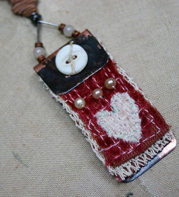 Art quilt pendant--Heart