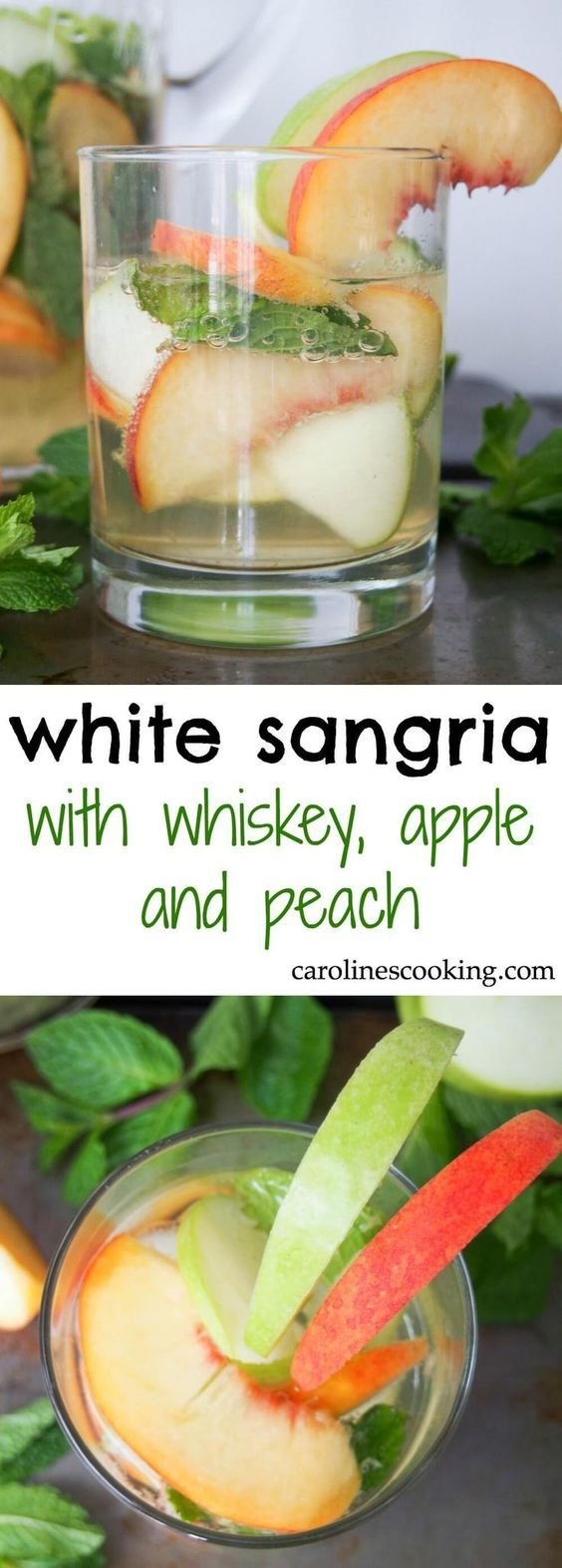 white sangria with whiskey, apple and peach - Gently sweet, fruity and with a lovely freshness from the mint, this white sangria is elegant and perfect for parties. IT'll become your go-to drink all summer! Also perfect colors for a less cliched St Patric
