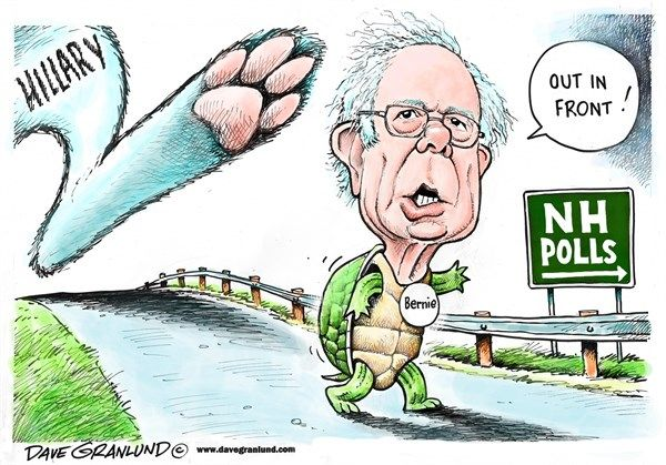 Bernie and NH polls © Dave Granlund,Politicalcartoons.com,Bernie, Sanders, VT, polls, NH, Hillary, liberal, socialism, socialist, crowds, turtle, tortoise, shell, hare, rabbit, race, national polls, 2016, democratic, dems, white house, ahead, surge, surging