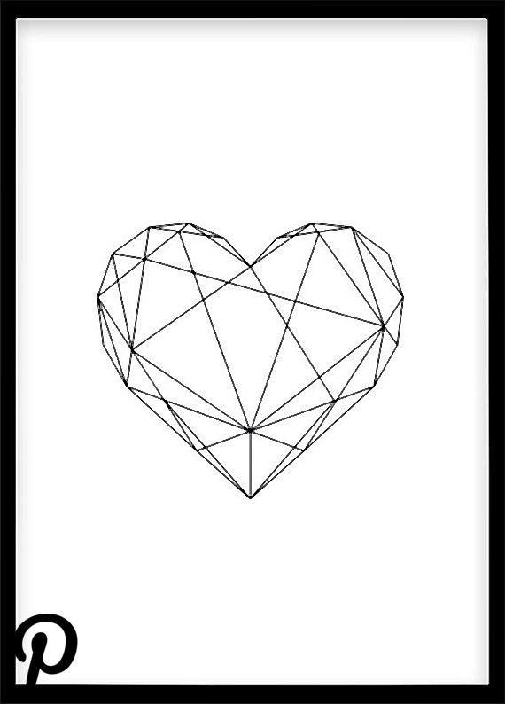 Herz Poster Din A4 Dekoration Schwarz Weiss Poster Skandinavisch Minimalistisch Geometrisches Plaka Geometrisch Geometrisches Herz Dekoration