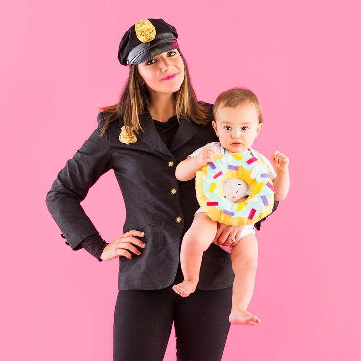 Celebrate the classic combo of cops + donuts with this mommy and me Halloween costume.