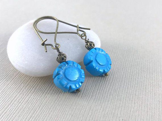 Flower Turquoise Earrings - Gemstone Earrings - Brass Earrings - Drop Dangle Earrings - Gift for Women - Blue Earrings - Boho Chic Earrings