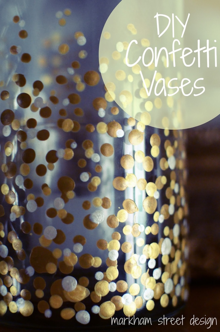 DIY Metallic Confetti Painted Vases -- She used two colors of gold and one champagne craft paint. To create the dots, dip wooden end of paint brush into paint and then dot the vase. Place in a cold oven, preheat to 350 degrees, bake for 30 minutes and then turn off the oven and cool completely while the glasses are still in.