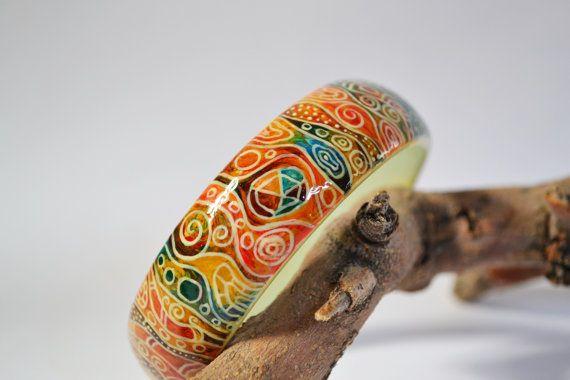 Bracelet Hand painted.Wooden Bangle. by IGORartPAINTING on Etsy