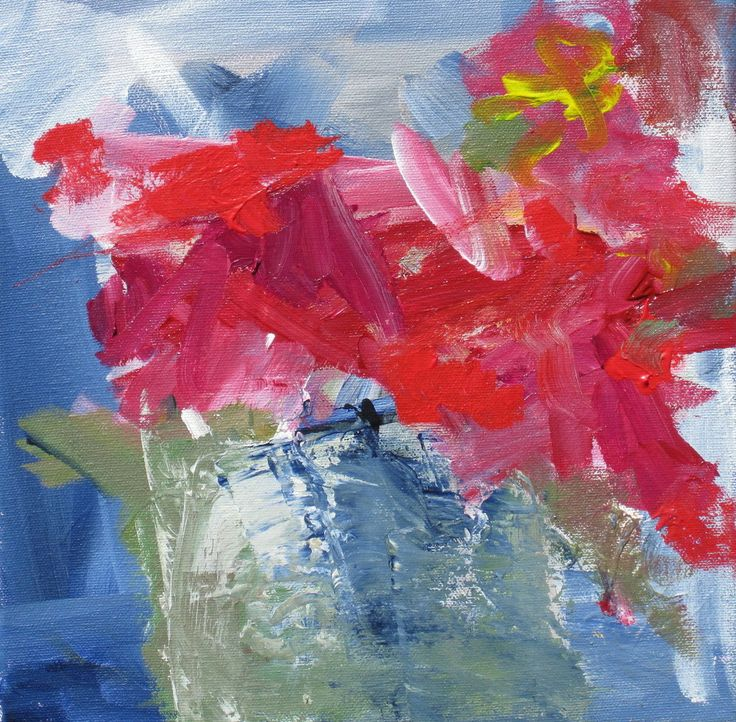 This abstract floral painting is acrylic on 10 x 10 thick gallery wrapped canvas. The colors are reminiscent of a Poinsettia.