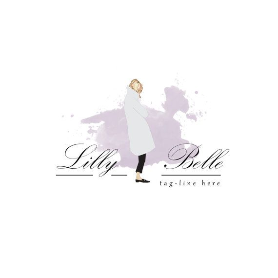 Watercolour Fashion Logo design, customizable Pre-made OOAK Grey, Purple