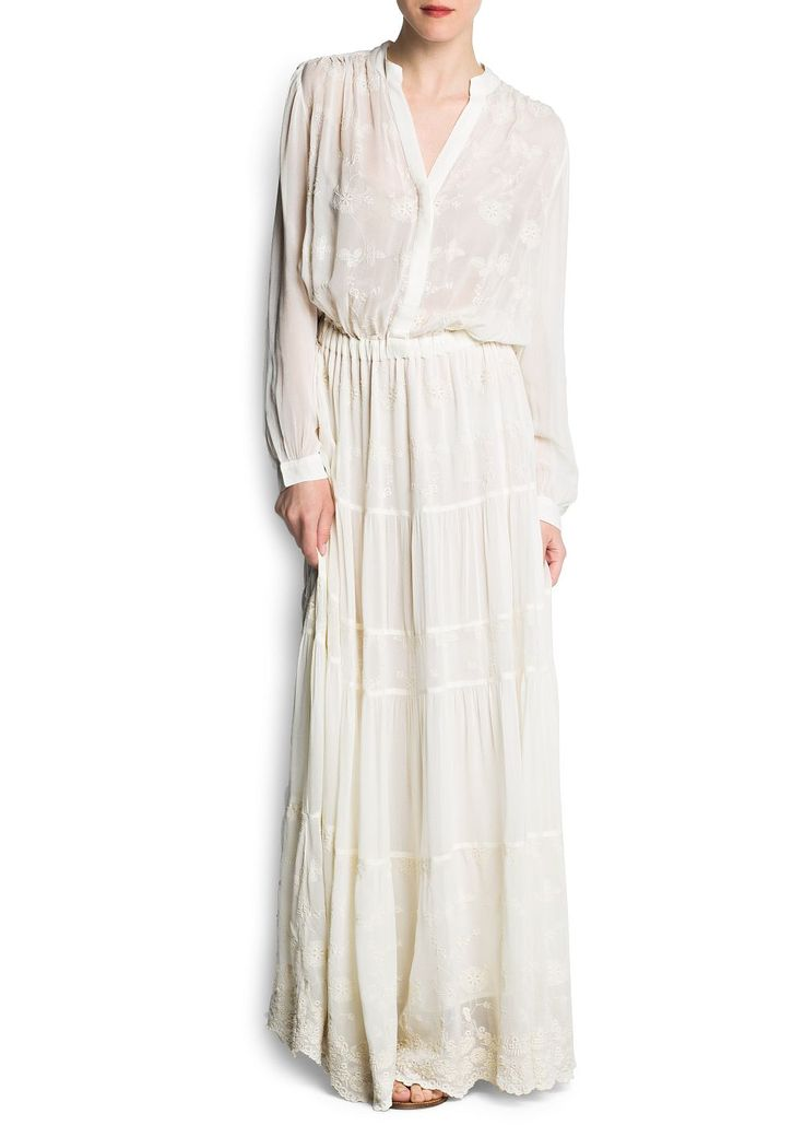 Vestido largo bordado gasa