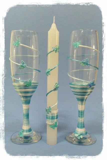 Copas y vela decoradas para bautizo cristal decorado - Copas decoradas con velas ...