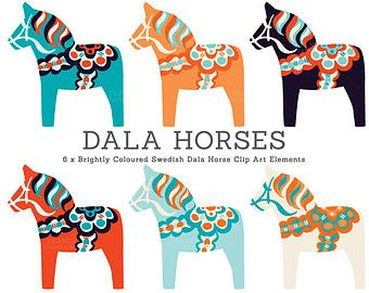 Bright Dala Horse Clip Art. Traditional Nordic Folk Art Designs. Swedish Scandinavian Clipart. Dalahäst/Dalecarlian horse. Commercial Use