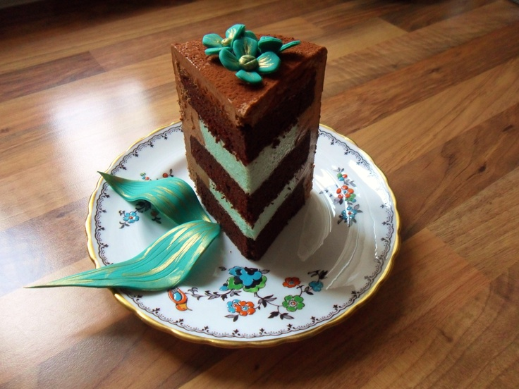 triple choc and mint mousse cake