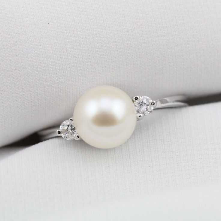 Pearl promise ring for girls,real pearl ring,freshwater pearl ring,pearl wedding rings,cubic zirconia engagement rings,best friend rings by PearlOnly on Etsy https://www.etsy.com/listing/228924559/pearl-promise-ring-for-girlsreal-pearl