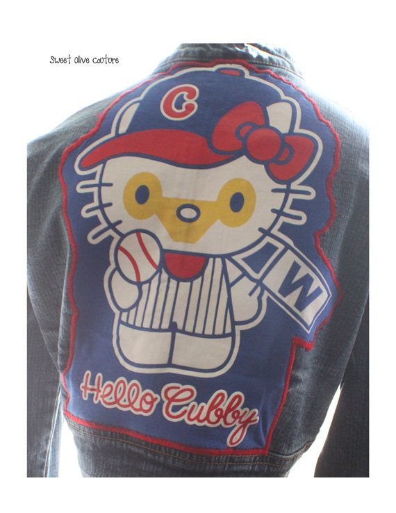 womens jacket Hello Kitty Chicago cubs by SweetOliveCouture