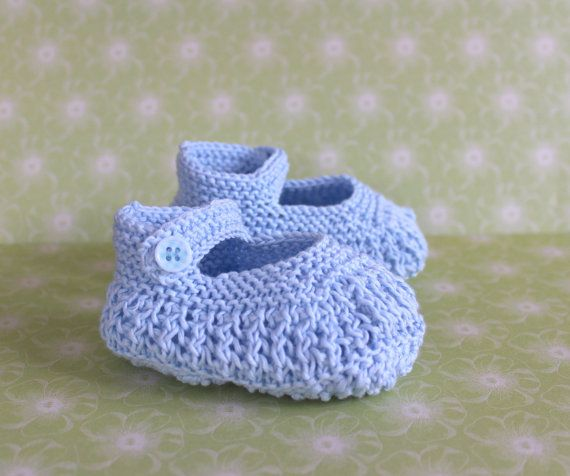Blue Booties Baby Knit Shoes Baby Sandals Baptism by Pinknitting