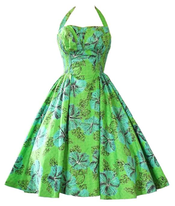 1950's Halter Dress with Shelf Bust, green, tropical, edited by franceseattle