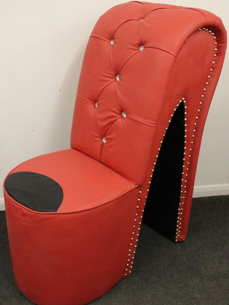 Red Leather High Heel Shoe Chair
