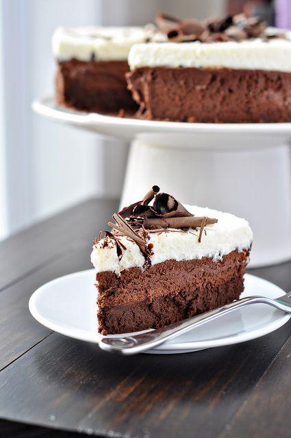gorgeous. triple chocolate mousse cake