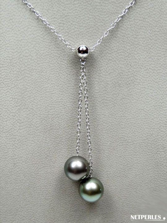 Pendentif collier de perles de culture de Tahiti et chaine Or gris