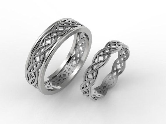 Celtic wedding ring set, his and hers celtic rings, Celtic wedding