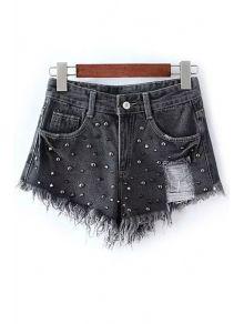 Rivet Embellished Frayed Denim Shorts