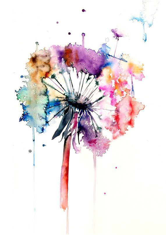 Dandelion Watercolor Painting Colorful Wall Decor by WatercolorMary …