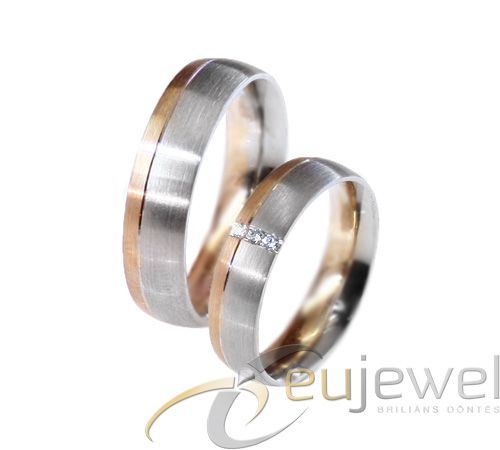 White and red gold with diamonds in a line in the middle