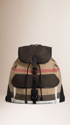 Small Canvas Check Backpack