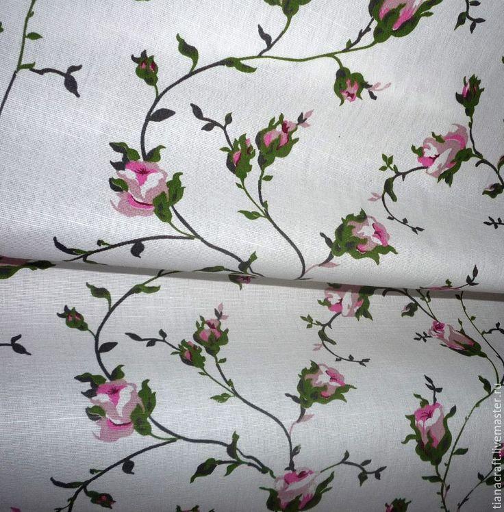 """Купить Ткань """"Плетистая роза"""", -  лен хлопок. ТИАНА-  ткани для рукоделия."""