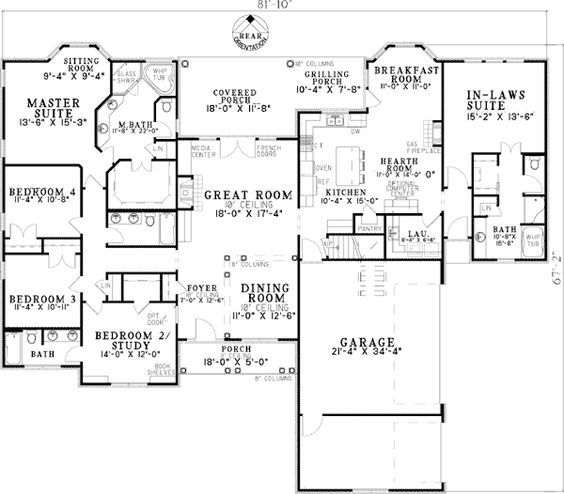 Plan W59679ND: Open Living with In-Law Suite - 2,880 sq. ft. 3-car garage, 4/5 bedrooms, 4 full bathrooms, walk-in pantry, in-law suite with its own entry and bath, Ranch layout + an upstairs bonus room: