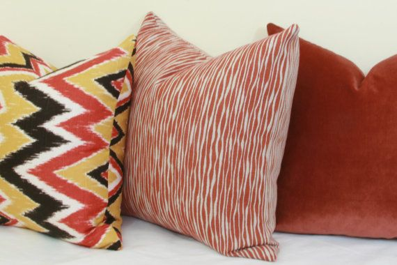 Brick red reversible decorative throw pillow by JoyWorkshoppe