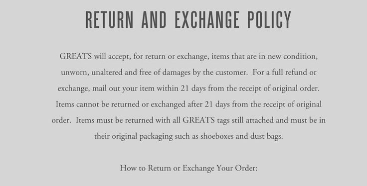 Greats Returns and Exchange Policy in Terms of Use business and - refund policy