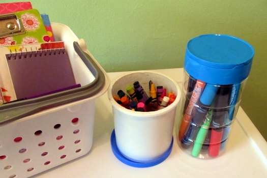 frosting container for crayons and a parmesan cheese shaker for markers.  You could use coordinating paper or fabric around the jar too.Parmesan Shakers, Cheese Shakers, Frostings Jars, Parmesan Cheese, Coordinating Paper, Organic Ideas Frostings, Crayons Storage, Cheese Tube, Art Supplies