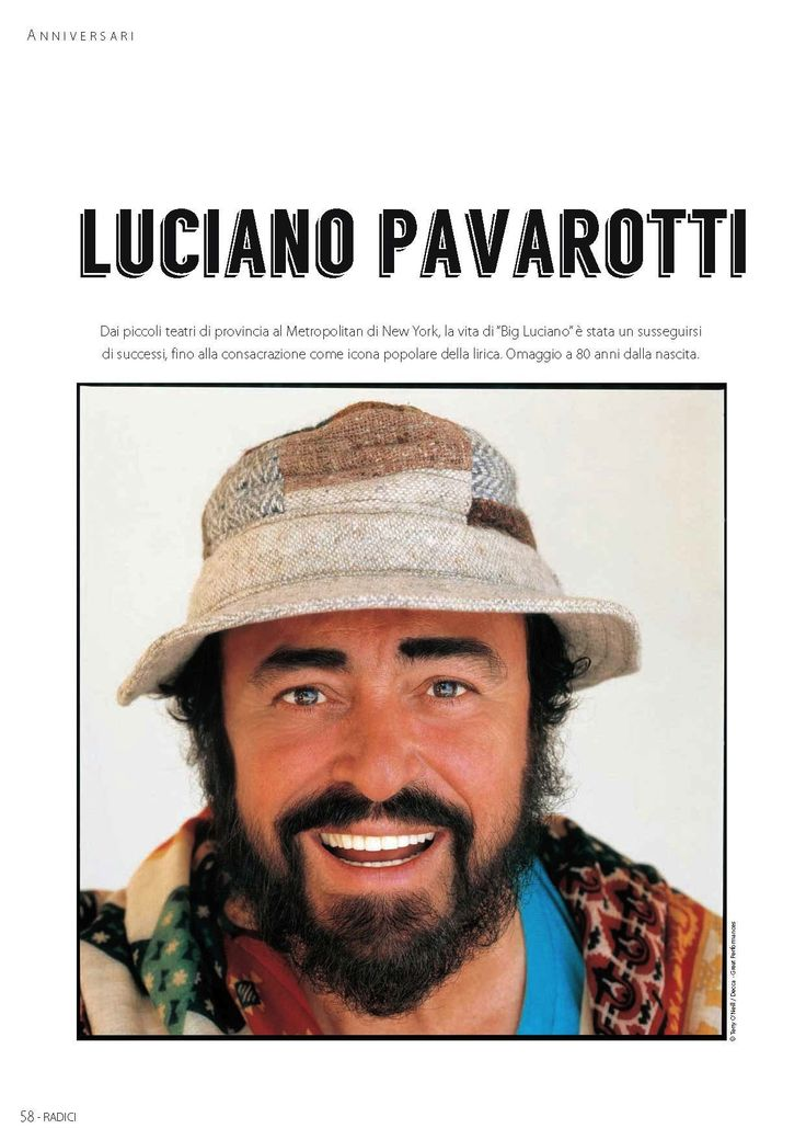 Luciano Pavarotti, dans RADICI n° 79-80
