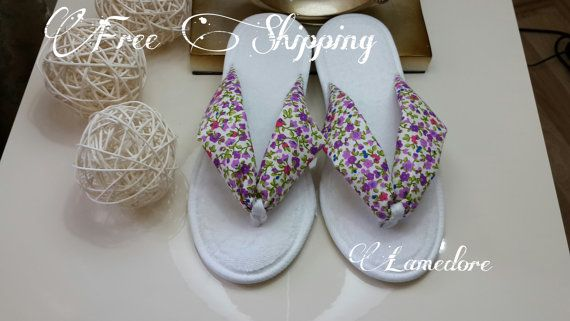 FREE SHIPPING flip flop slippers Terry toweling flip by LAMEDORE