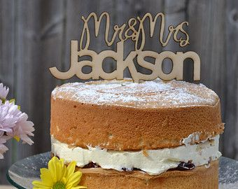 Wedding Cake topper - LARGE Personalised Mr and Mrs - wood - etched