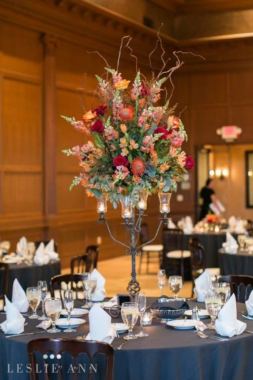 Ballroom Reception Candelabra Centerpieces With Red Amp Orange Roses Pink Amp Orange Snapdragon