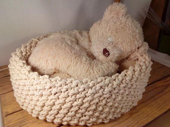 I hand knit basket and rug.