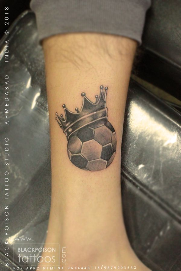 Small 8 Ball Tattoo: Football Tattoo #footballtattoo #soccertattoo #ankletattoo