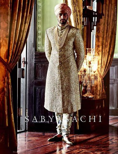 Fashion for the Indian Groom | All Gold sherwani with a soft serenity pink pagadi saafa| Sabyasachi Groom | Curated by Witty Vows