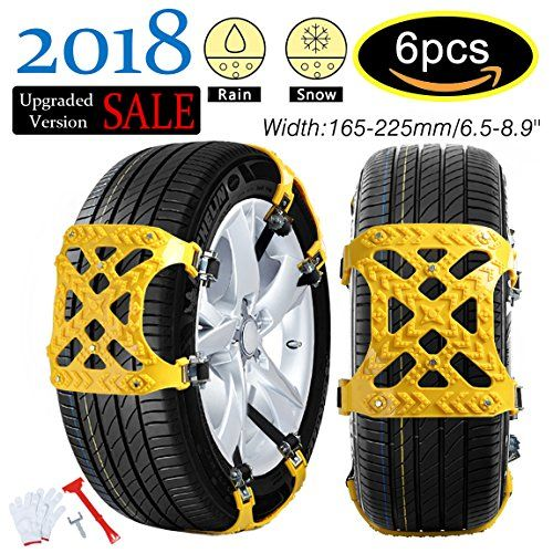 【NEW 2018 VERSION 】Snow Chains Car Anti Slip Tire Chains Adjustable Anti-Skid Chains Car Tire Snow Chains Fits for Most Car/SUV/Truck-Set of 6 Width 165-225mm/6.5-8.9'' - 【NEW 2018 VERSION 】Car Anti Slip Tire Chains Snow Chains Adjustable Anti-Skid Chains Emergency Thickening Car Tire Snow Chains Fits for Most Car/SUV/Truck-Set of 6 Width165-225mm/6.5-8.9'' ✥✥Feature:✥✥ ✈100% pure Dichotomanthes materials. ✈R...