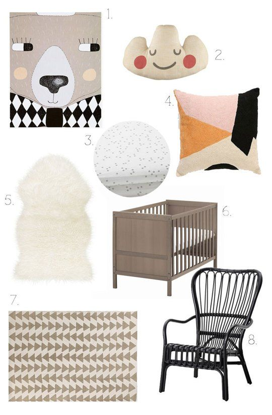 """""""A Modern Nordic Nursery on a Budget"""" , featuring the TEJN faux sheepskin, SUNDVIK crib and STORSELE chair, @ApartmentTherapy.com"""
