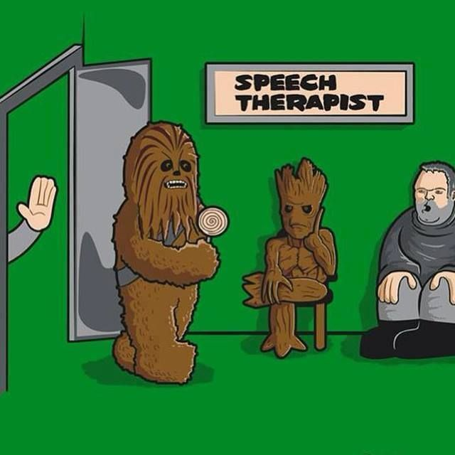 Groot and Chewbacca in speech therapy.
